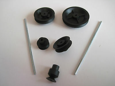 Pack Of 5  Minature Pulleys And  2Mm Shafts  For Model Projects