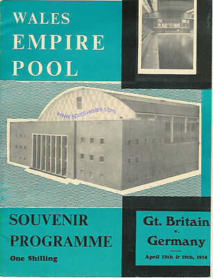 Great Britain v Germany match Swimming Programme at Empire Pool, Cardiff 1958