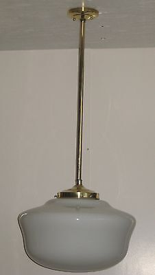 """Brass Stem Pendant With 6"""" Fitter and Vintage Opal Glass Schoolhouse Shade"""