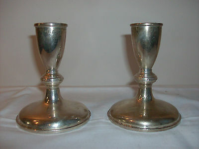 Vintage-Pair Of Preisner Sterling Silver, Weighted - 119, Candle Holders
