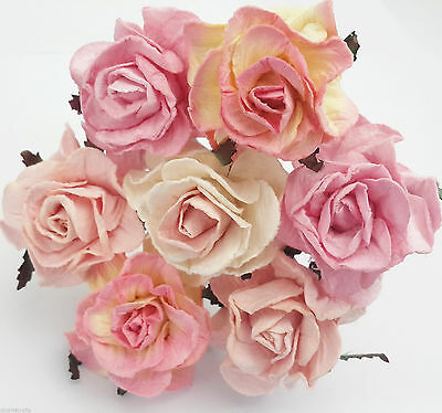 Job Lot Paper Flowers Roses Wholesale Craft Wedding Button Hole Resell Scrapbook