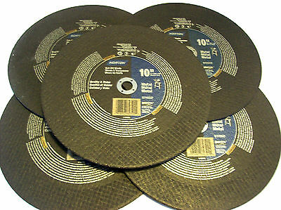 "5 Norton 10"" Chop Saw Metal Cut Off Wheel Blades 89390 Grinding Circular Miter"