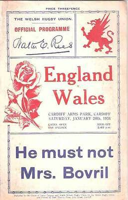 WALES v ENGLAND 1934 RUGBY PROGRAMME