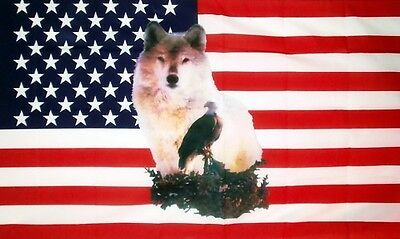 USA WOLF and EAGLE FLAG 5' x 3' US America American Western Line Dancing