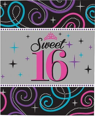 16th BIRTHDAY PARTY BLACK & PINK SWEET SIXTEEN LARGE PLASTIC TABLECOVER