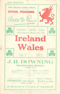 WALES v IRELAND 1936 RUGBY PROGRAMME
