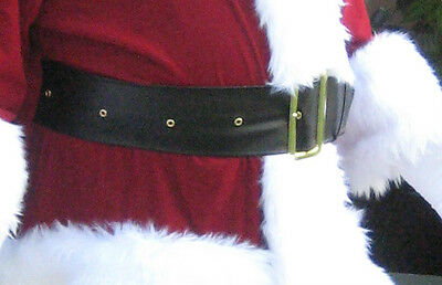 "Santa Claus Wide Costume Belt Big Pirate Renaissance Faire Black Vinyl 58"" Long"