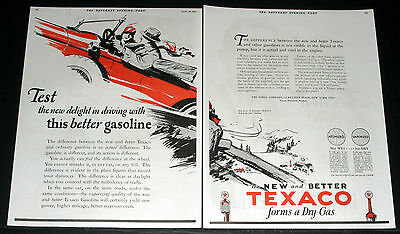 1927 Old Magazine Print Ad, Texaco Gasoline, A New Delight In Driving, Car Art!