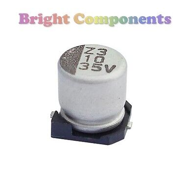 10 x 100uF SMD/SMT Electrolytic Capacitor - 16V (max) - UK - 1st CLASS POST