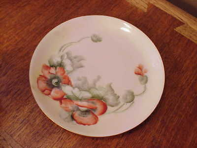 Beautiful Handpainted Porcelain Poppies Plate Hutschenreuther Selb Bavaria