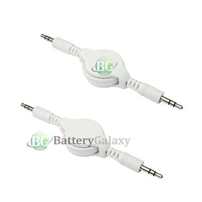 2 Retractable 3.5mm AUX Auxiliary Cable Cord for Apple iPhone iPod Touch Nano