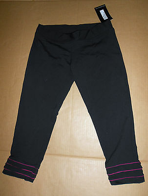 NWT DANCE BLOCH Crop Pants with Piping Detail fucshia Small adult Style#P6813