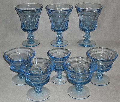8 pc Set Fostoria Glass JAMESTOWN BLUE PATTERN Sherbets/Waters/Wine