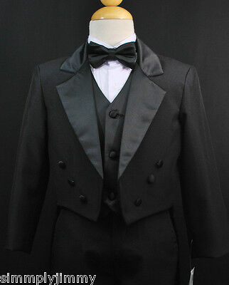 Children Kids & Boy Tuxedo Dress Suit Set Sz: 5 6 7 8 10-20 Black Formal Wedding