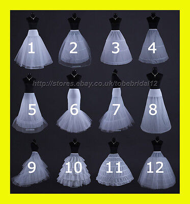 White Or Black Hoop Bridal Wedding Dress Prom Petticoat Underskirt Crinoline S-L