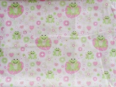 Crib Sheet/ Fitted/ Cotton - Smiling Frogs On Pink Lily Pads And Hearts