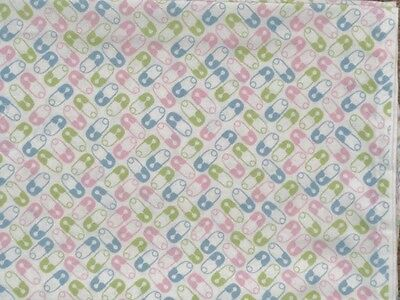 Crib Sheet/fitted/cotton - Pink Blue And Green Diaper Pins