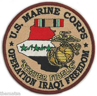 """Marine Corps 4"""" Operation Iraqi Freedom Medal Usmc Embroidered Military Patch"""