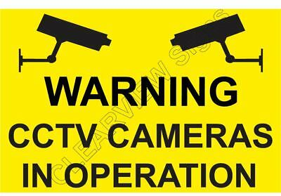CCTV CAMERAS IN OPERATION large Sign (YELL) Size 420mmx275mmx3mm  Rigid Plastic