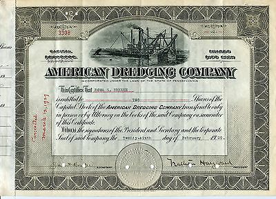 American Dredging Company of Pennsylvania, Beautiful 1920s certificate w/dredge