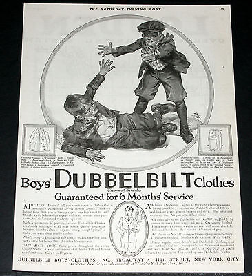 1919 Old Magazine Print Ad, Boys Dubblebilt Clothes, Herbert Meyer Baseball Art!