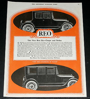 1919 Old Magazine Print Ad, New Reo Six, Coupe And Sedan, Beauty Of Design, Art!