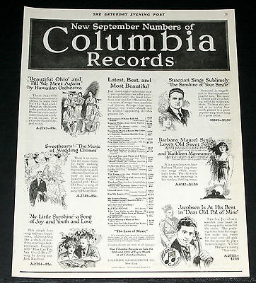 1919 Old Magazine Print Ad, Columbia Records, Latest New September Numbers, Art!
