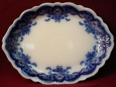 JOHNSON BROTHERS china OREGON flow blue GOLD ACCENT Oval SERVING Platter 18-1/4""