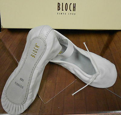 NEW Bloch White Leather Full Suede Sole Ballet Shoes 205G&L attached elastics