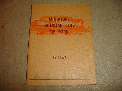Old Vtg Antique Collectible Miniature Railroad Club Of York By-Laws Booklet