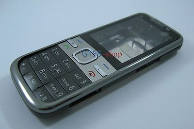 Silver-Black Fascia Housing Cover Case for Nokia C5 C5-00 +Keypad Faceplate Tool