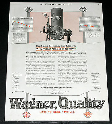"""1920 Old Magazine Print Ad, Wagner """"made To Order"""" Electric Motors For Quality!"""