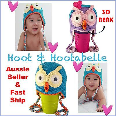 Hoot n Hootabelle Handmade Owl Beanie for Girl Boy Baby Toddler Kids 100% Cotton