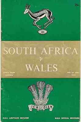 SOUTH AFRICA v WALES 23rd May 1964 RUGBY PROGRAMME