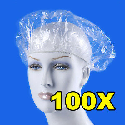 Pack of 100 Disposable Hat Hotel One-Off Elastic Shower Bathing Cap Clear Salon