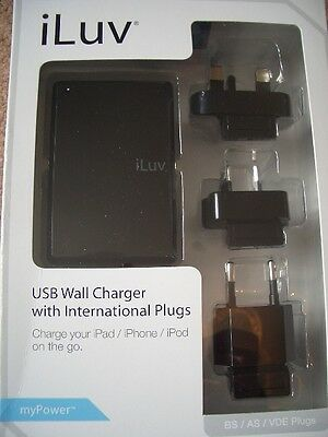 iLuv i108BLK USB Wall Charger with International Plugs for iPhone 4, iPad 3 iPod