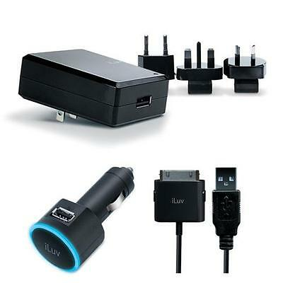 iLuv i159BLK USB Combo Charger with International Plugs for iPhone 4, iPad 3
