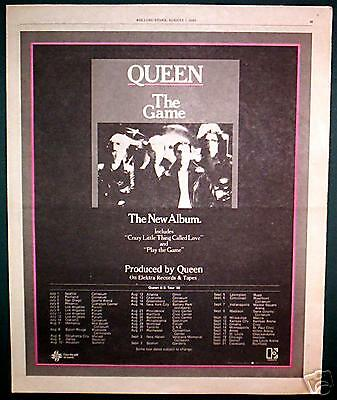 "1980 Queen ""the Game"" Album & Tour Promo Ad"