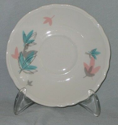 2 Saucers Shenango Pink Turquoise and Gray Flowers on White