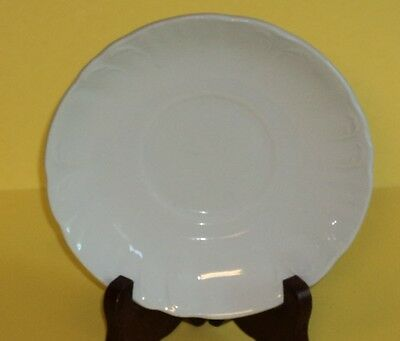 J & G Meakin Saucer all White with an embossed scalloped trim