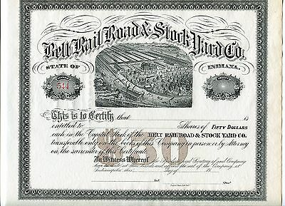 CRISP Belt Rail Road & Stock Yard Company of Indiana 1800s Unissued Certificate