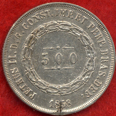 Super Rare 500 Reis Brazil Brasil Silver Antique Coin 1858 !!