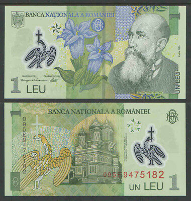 ROMANIA 2005 1 LEU Cat # P117 UNCIRCULATED POLYMAR