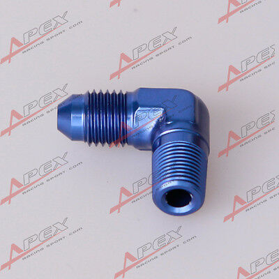 "AN10 AN -10 To 1/2"" NPT 90 Degree Male Aluminum Fitting Adapter Blue"