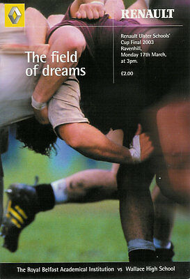 Royal Belfast Academical Institution 2003 Uslter Schools Cup Final Rugby Prog