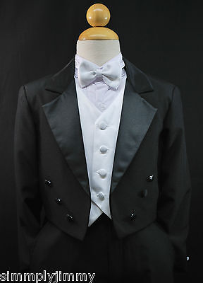 Infant Toddler & Boy Formal Children Tuxedo Wedding Party Suit Black sz S- 20