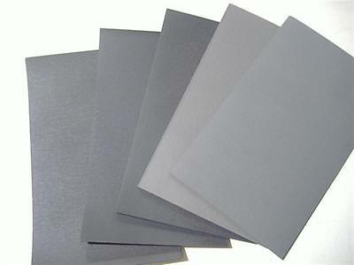 """5PC 1/2 SHEET 5 1/2"""" x 9"""" ASSORTED WET OR DRY SANDPAPER 800 GRIT TO 2000 GRIT"""