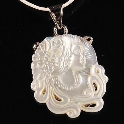 g0101 Mother of pearl MOP Shell cameo lady pendant 24mm