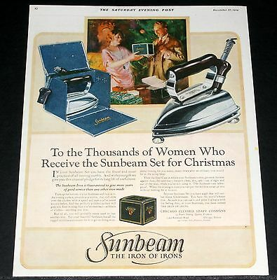 1924 Old Magazine Print Ad, Sunbeam Electric Iron & Case For Christmas, Art!