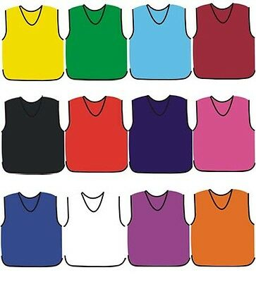 10 X Football Training Bibs Top Quality Football Netball Rugby Hockey Cricket